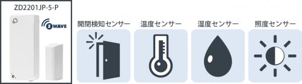 扉の開閉・温度・湿度・明るの4種類が検知できる高機能センサーである