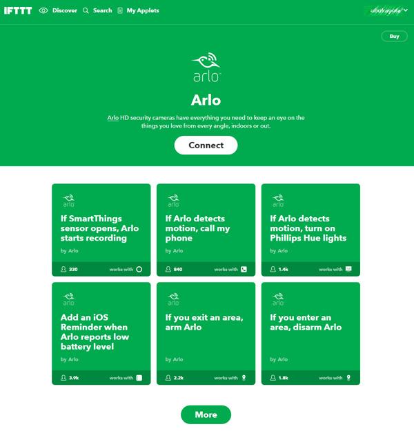IFTTTのArloサービスページ