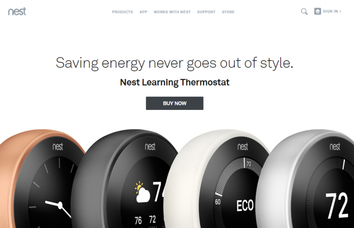 nest社の高機能サーモスタット(Nest Learning Thermostat:Saving energy never goes out of style)