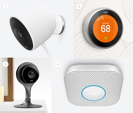 1.Nest Cam Outdoor security camera2.Nest Learning Thermostat3.Nest Cam Indoor security camera4.Nest Protect smoke and CO alarm